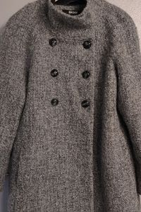 DKNY Grey Double Breasted Wool Coat